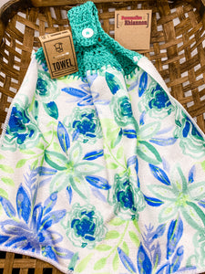 Blue & turquoise flowers hand towel