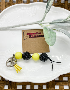 Black rhinestone & yellow keychain