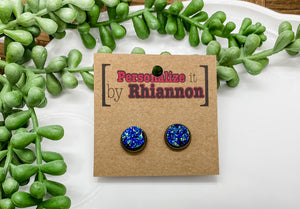 12mm blue mermaid stud earrings