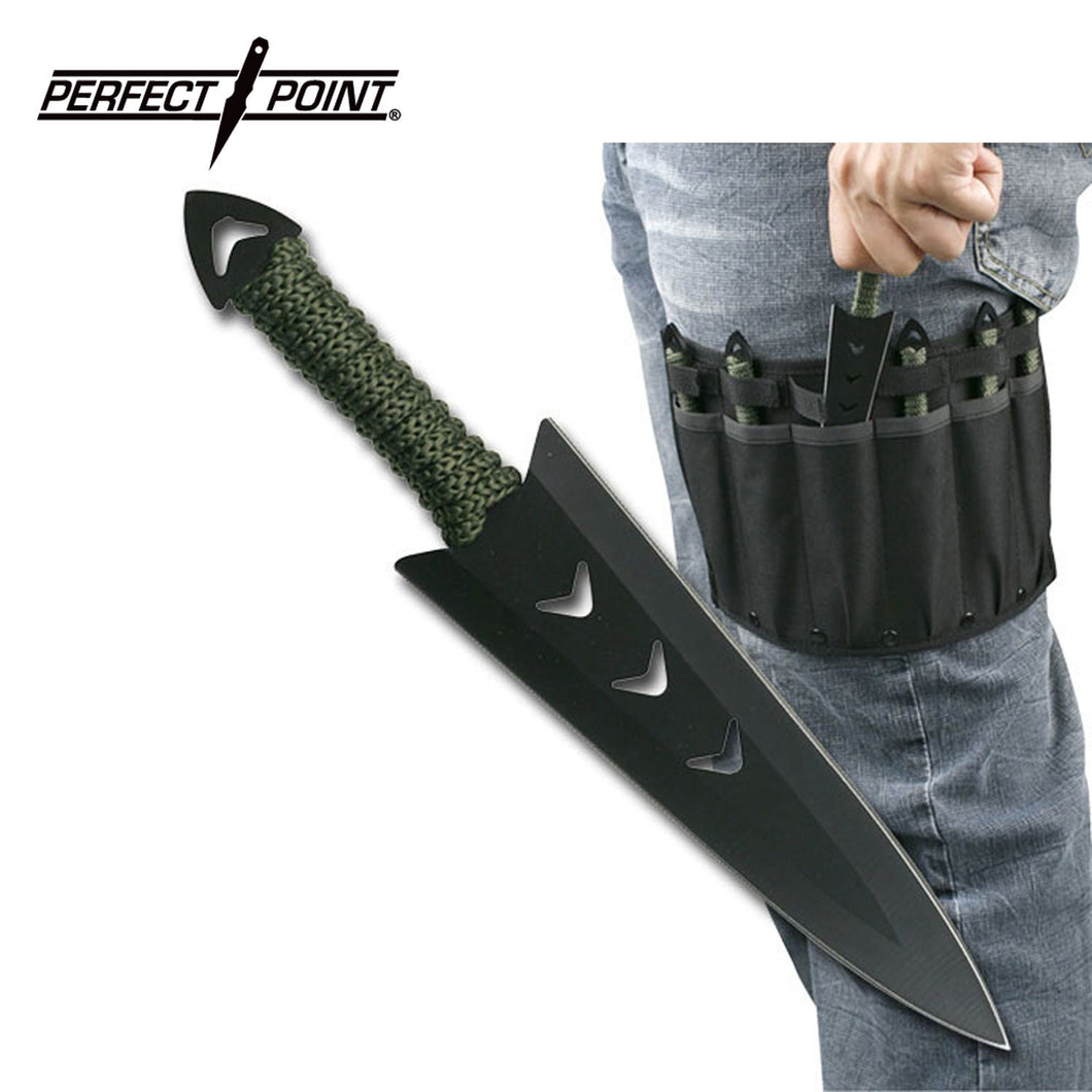 PERFECT POINT 6 Pc Throwing Knife Set w/Drop Leg