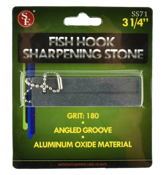 SE PROFESSIONAL Fishing Hook Sharpening Stone with Angled Groove