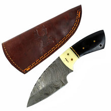 "Load image into Gallery viewer, TheBoneEdge 7"" Damascus Fixed Blade Full Tang Black Horn & Bone Handle Knife"