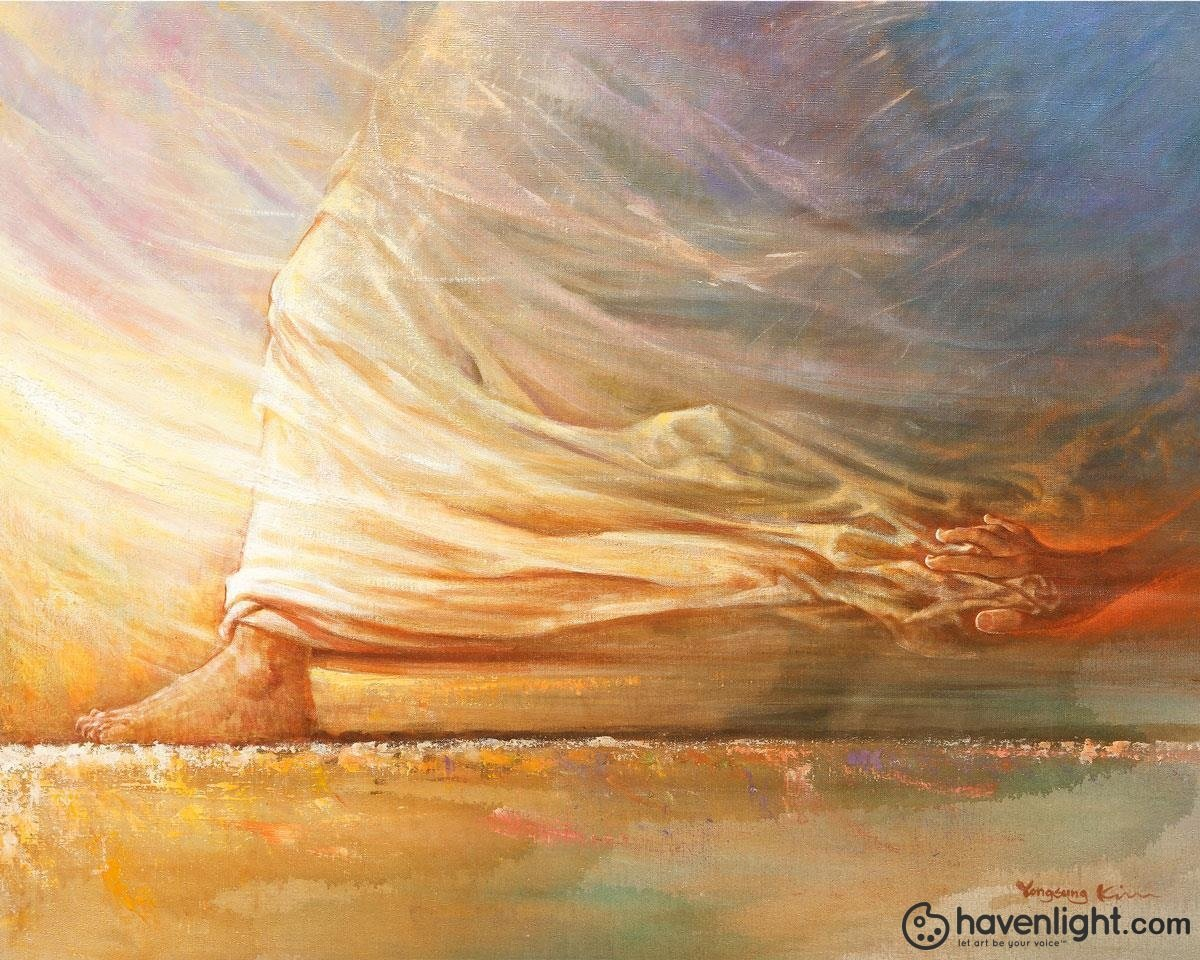 Touch of Faith is a painting that depicts a women with a issue of blood, who touched the Saviors clothes and was healed - Yongsung Kim | Havenlight | Christian Artwork