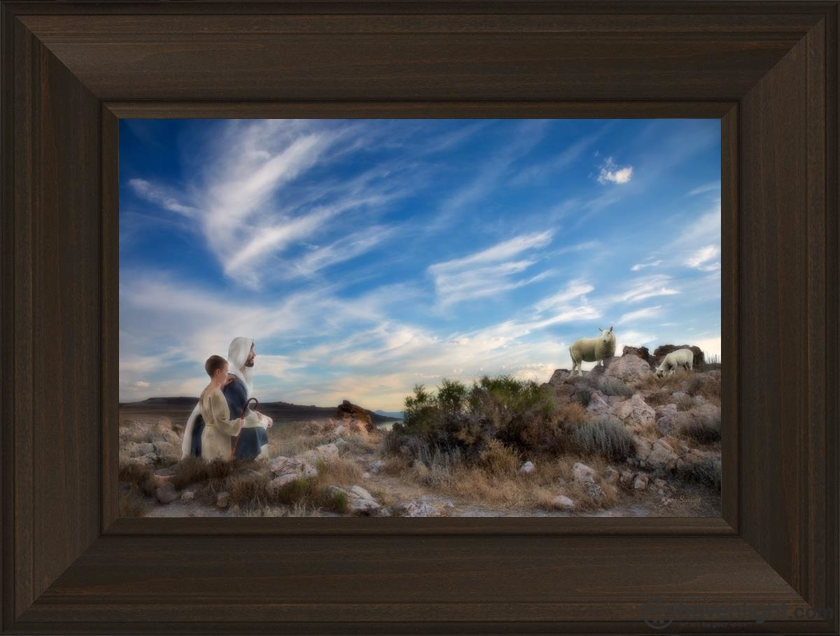 Training The Young Shepherd Open Edition Canvas / 18 X 12 Frame B 3/4 24 Art