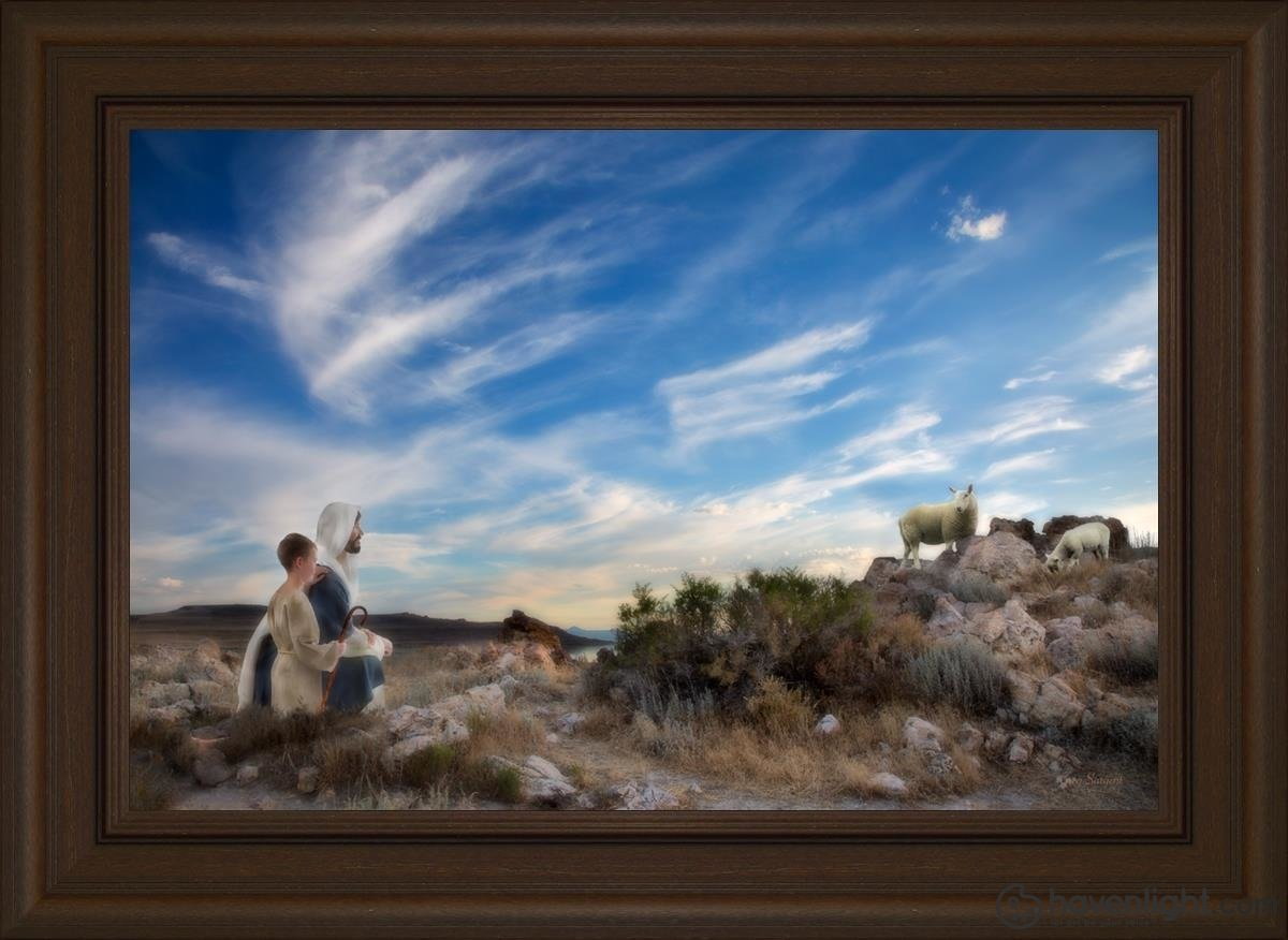 Training The Young Shepherd Open Edition Canvas / 18 X 12 Frame S 16 1/4 22 Art