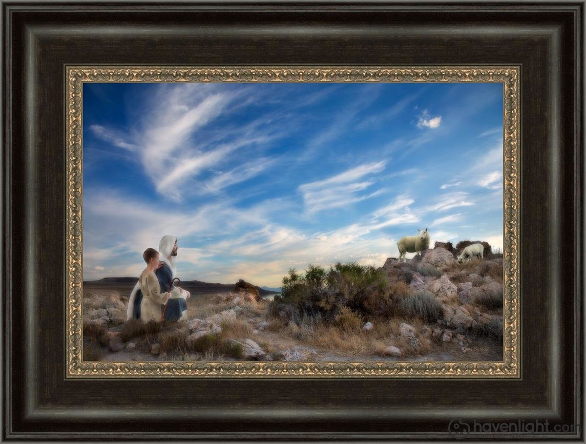Training The Young Shepherd Open Edition Canvas / 18 X 12 Frame W 3/4 24 Art