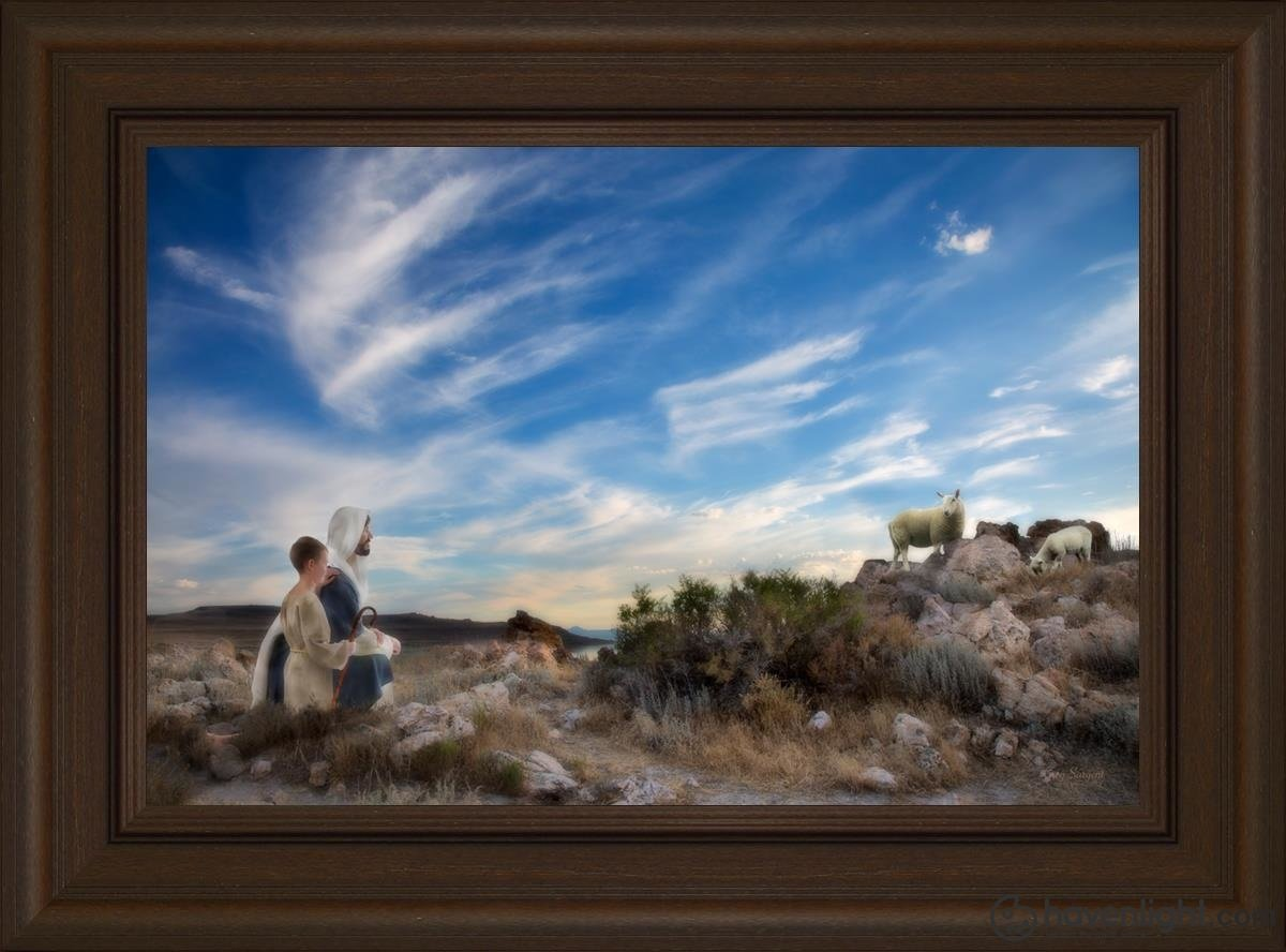 Training The Young Shepherd Open Edition Canvas / 24 X 16 Frame E 22 3/4 30 Art