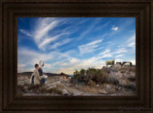 Training The Young Shepherd Open Edition Canvas / 24 X 16 Frame T 22 3/4 30 Art