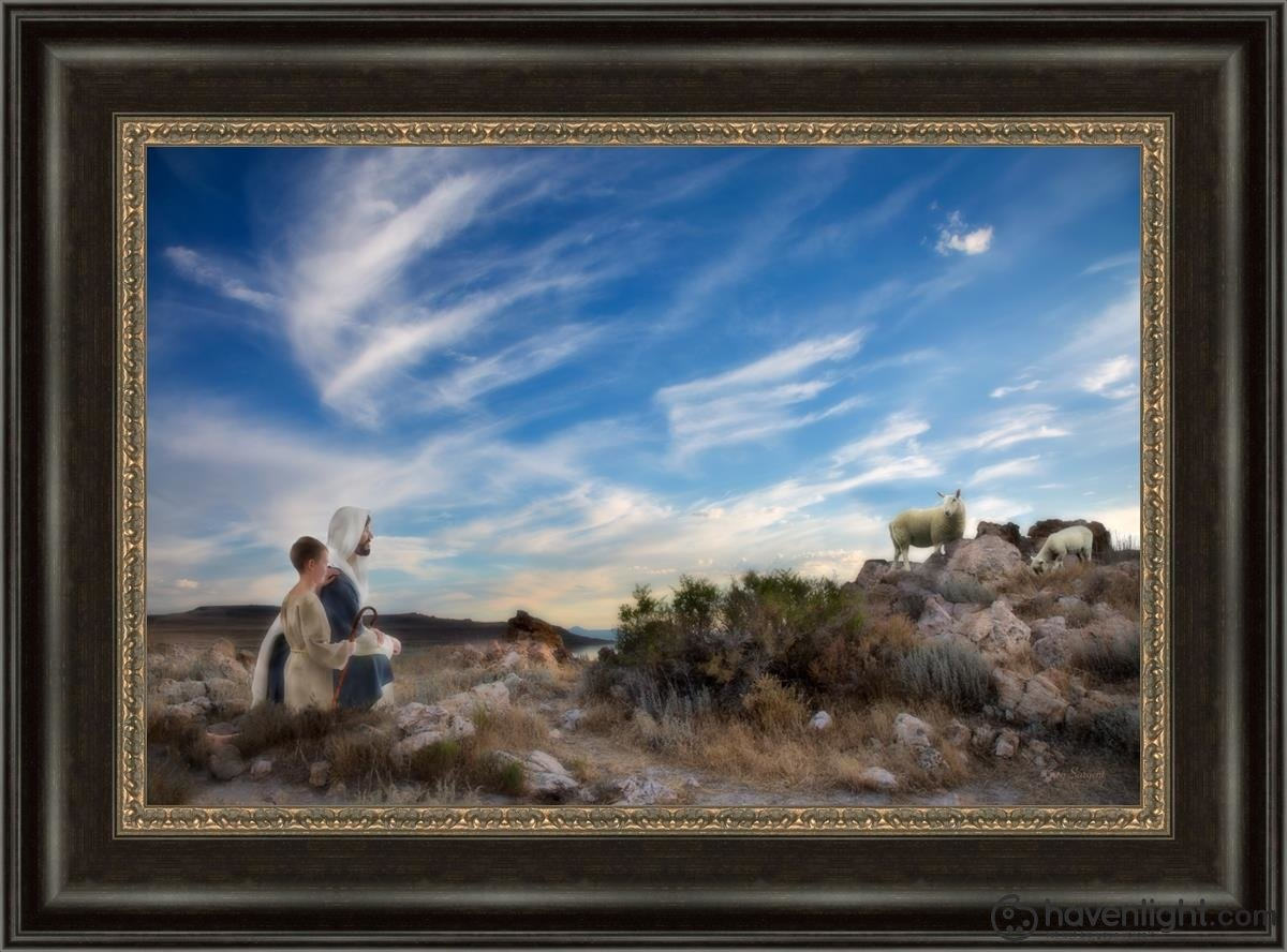 Training The Young Shepherd Open Edition Canvas / 24 X 16 Frame W 22 3/4 30 Art