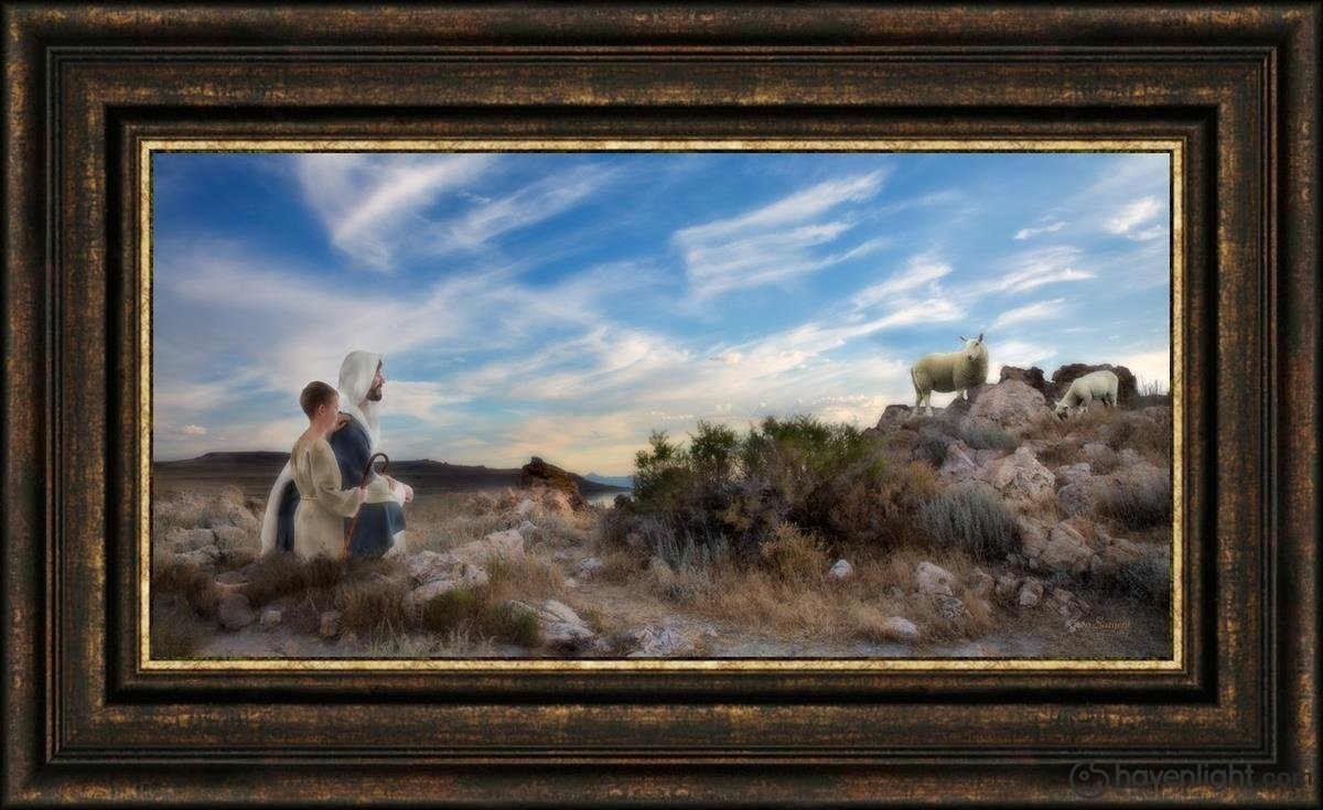 Training The Young Shepherd Open Edition Canvas / 30 X 15 Frame G 23 3/4 38 Art