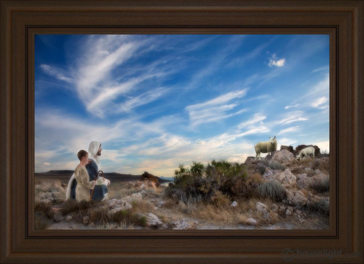 Training The Young Shepherd Open Edition Canvas / 30 X 20 Frame E 26 3/4 36 Art