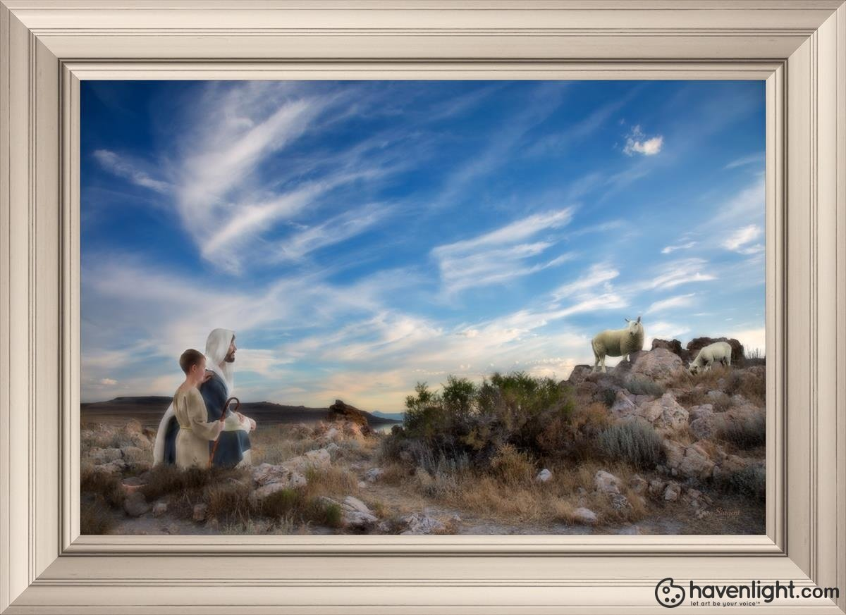 Training The Young Shepherd Open Edition Canvas / 30 X 20 Frame W 26 3/4 36 Art