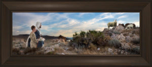 Training The Young Shepherd Open Edition Canvas / 36 X 12 Frame B 18 3/4 42 Art