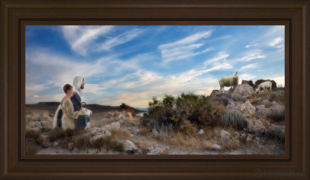 Training The Young Shepherd Open Edition Canvas / 36 X 18 Frame E 24 3/4 42 Art