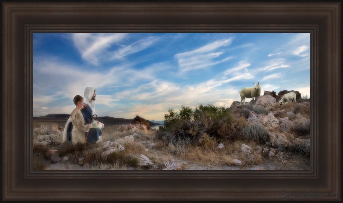 Training The Young Shepherd Open Edition Canvas / 36 X 18 Frame F 26 1/4 44 Art