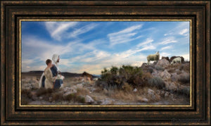 Training The Young Shepherd Open Edition Canvas / 36 X 18 Frame G 26 3/4 44 Art