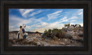 Training The Young Shepherd Open Edition Canvas / 36 X 18 Frame L 26 1/4 44 Art