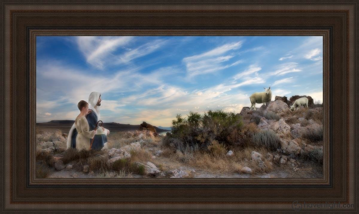 Training The Young Shepherd Open Edition Canvas / 36 X 18 Frame R 26 3/4 44 Art