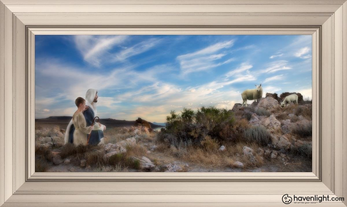Training The Young Shepherd Open Edition Canvas / 36 X 18 Frame W 26 3/4 44 Art