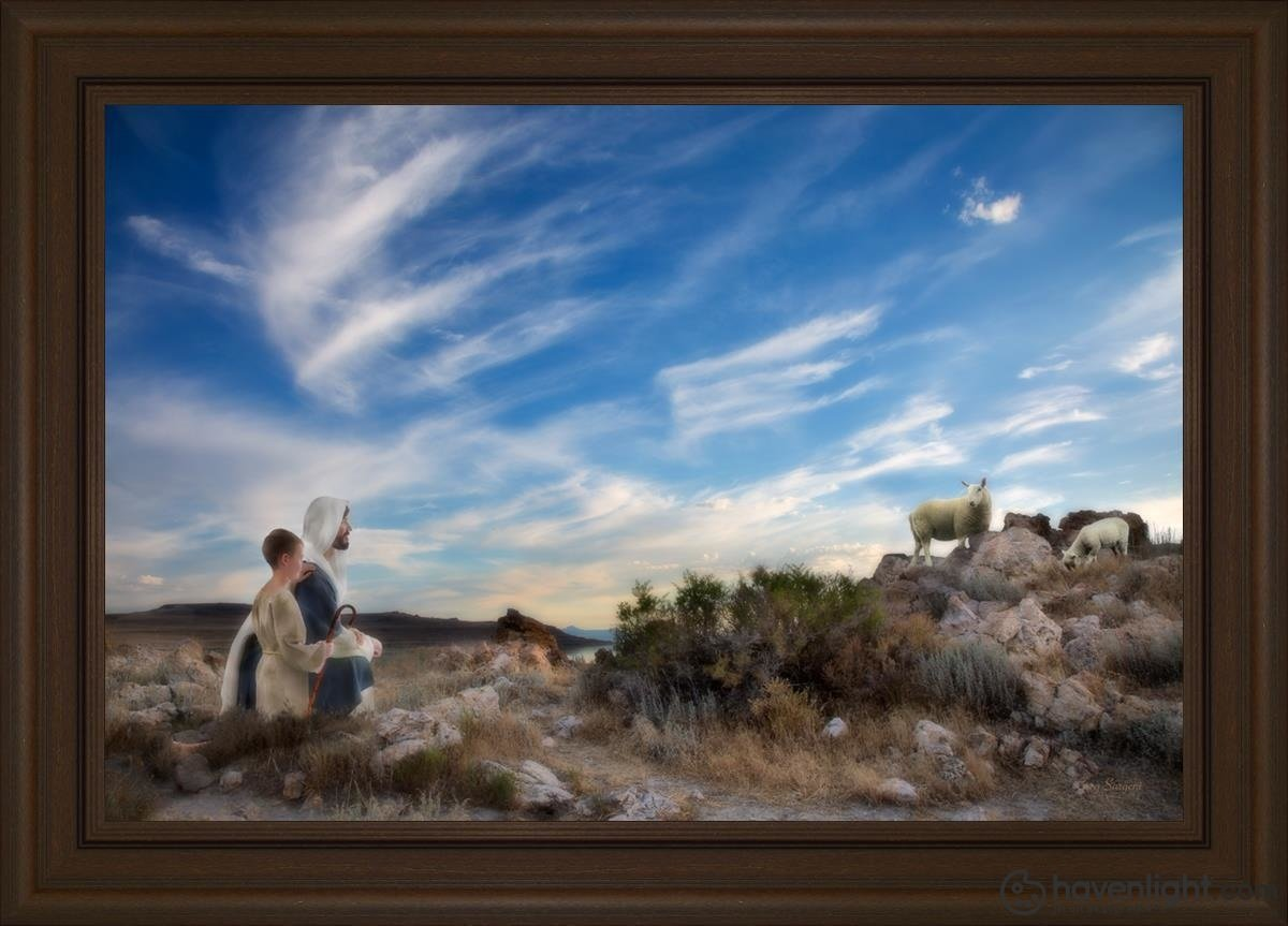 Training The Young Shepherd Open Edition Canvas / 36 X 24 Frame E 30 3/4 42 Art