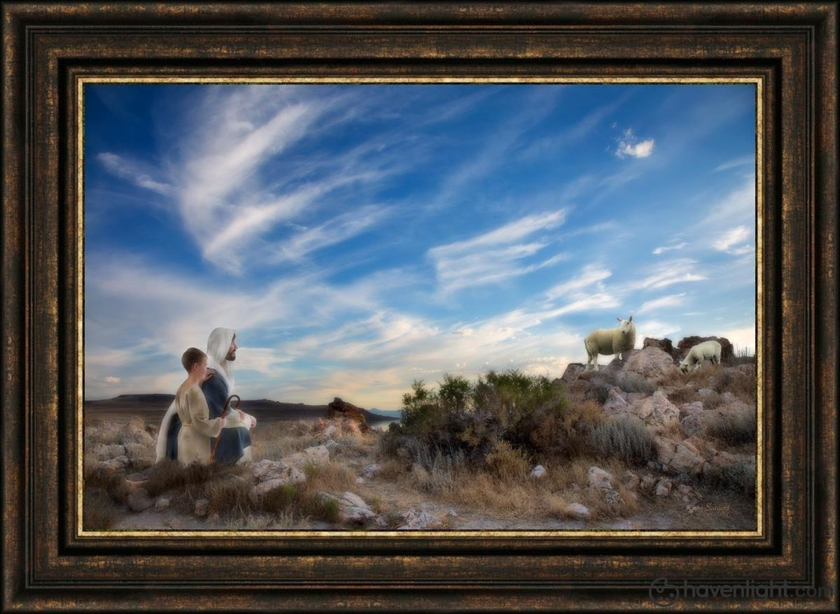 Training The Young Shepherd Open Edition Canvas / 36 X 24 Frame G 32 3/4 44 Art