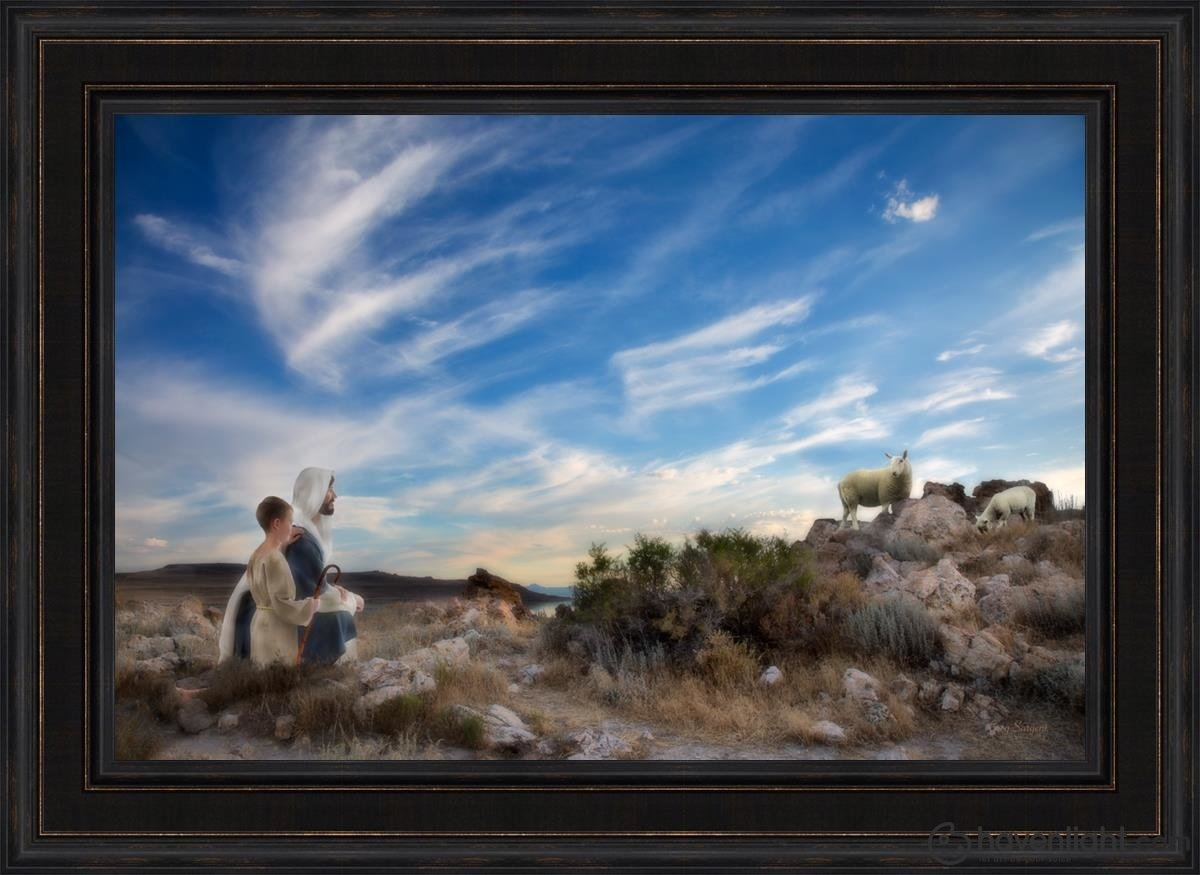 Training The Young Shepherd Open Edition Canvas / 36 X 24 Frame L 32 1/4 44 Art