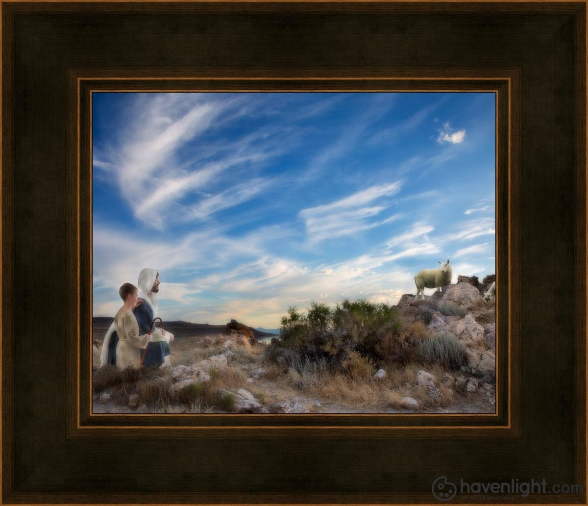 Training The Young Shepherd Open Edition Print / 10 X 8 Frame A 12 1/4 14 Art