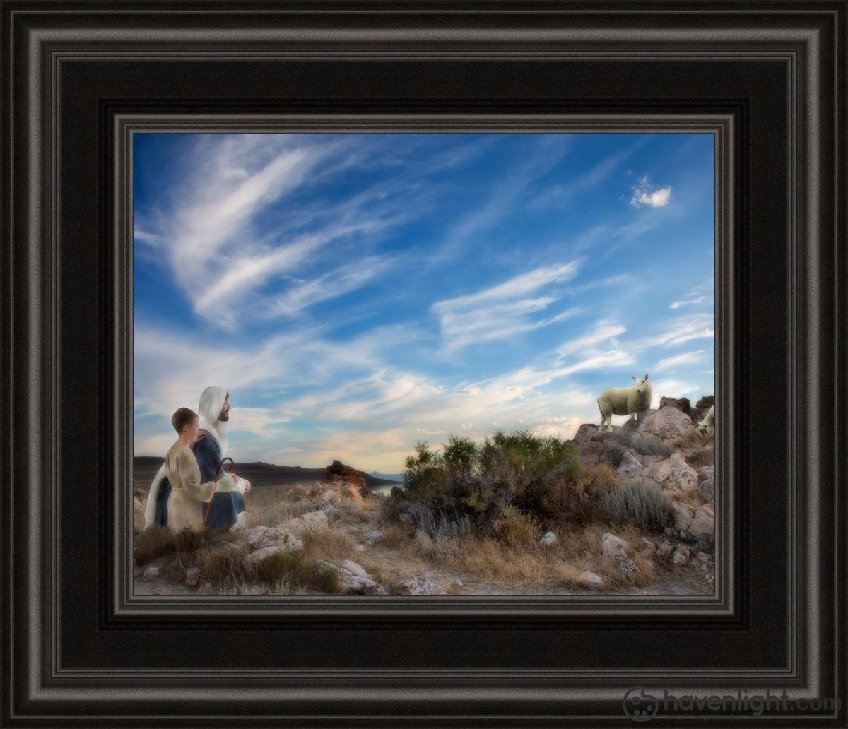 Training The Young Shepherd Open Edition Print / 10 X 8 Frame C 12 1/4 14 Art