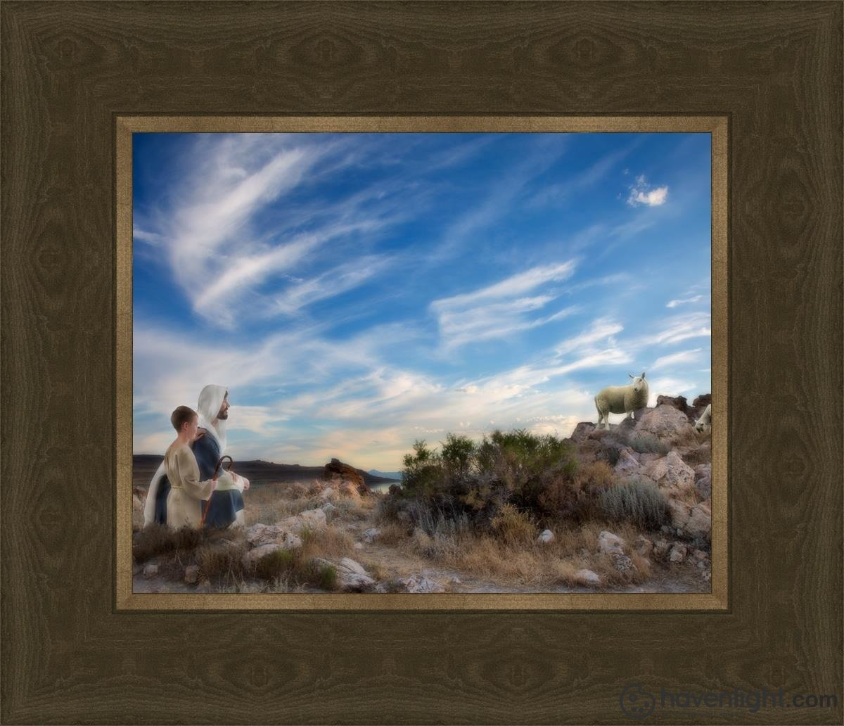 Training The Young Shepherd Open Edition Print / 10 X 8 Frame G 12 1/4 14 Art
