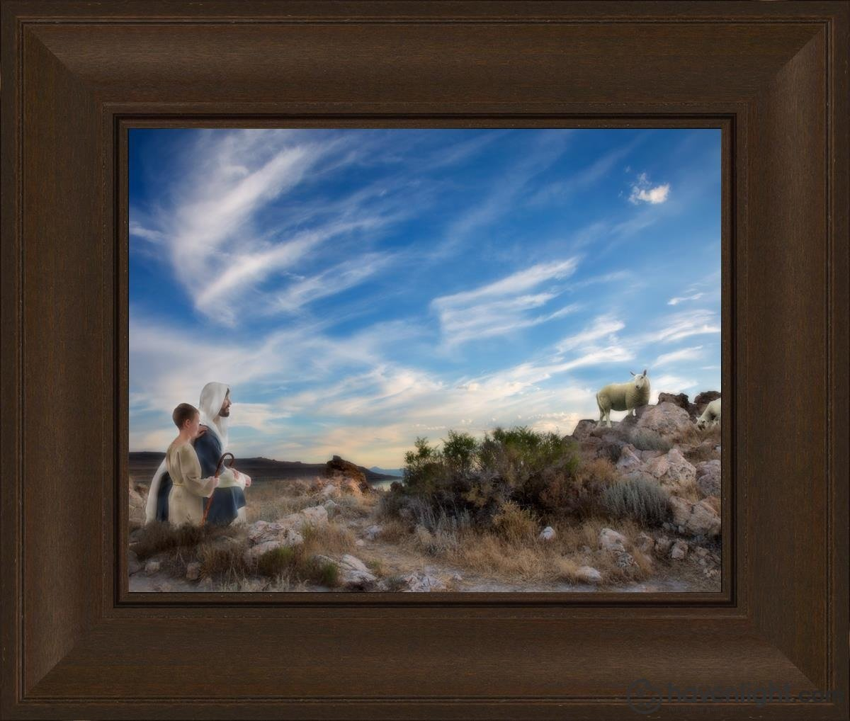 Training The Young Shepherd Open Edition Print / 14 X 11 Frame C 16 3/4 19 Art