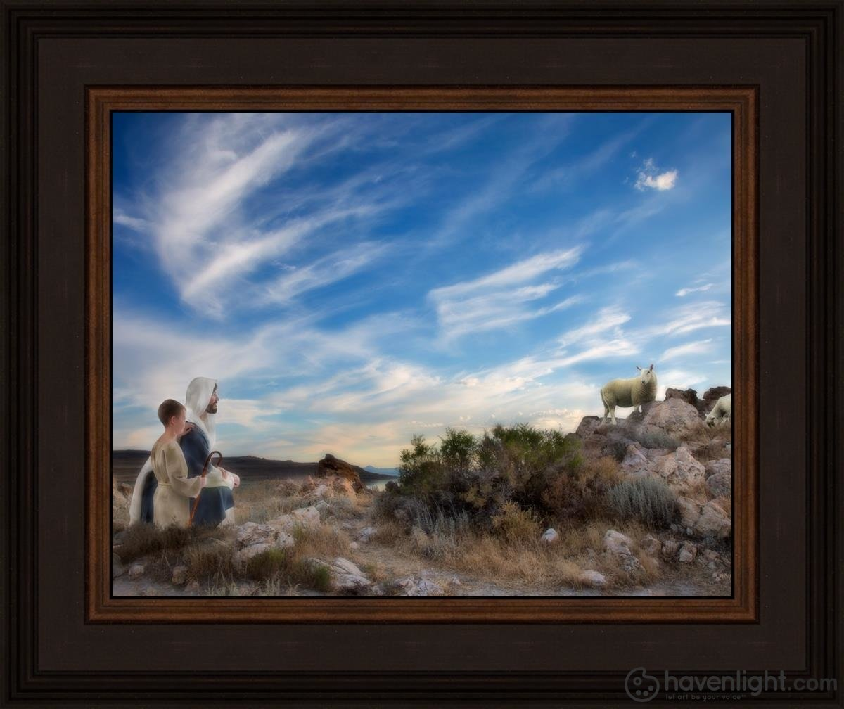 Training The Young Shepherd Open Edition Print / 14 X 11 Frame N 15 3/4 18 Art