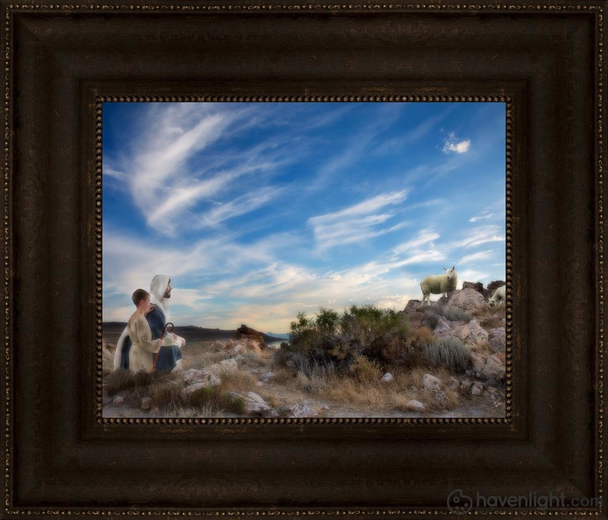 Training The Young Shepherd Open Edition Print / 14 X 11 Frame T 17 3/4 20 Art