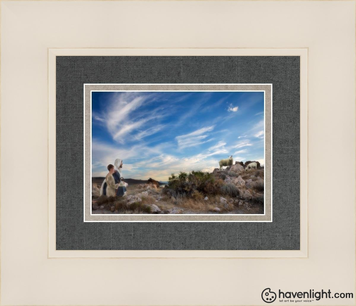 Training The Young Shepherd Open Edition Print / 7 X 5 Frame W 14 1/4 12 Art