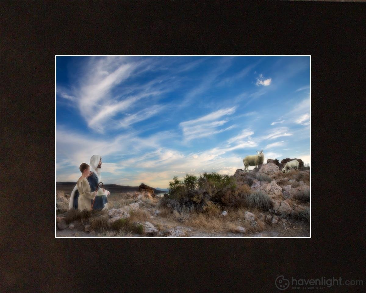 Training The Young Shepherd Open Edition Print / 7 X 5 Matted To 10 8 Art