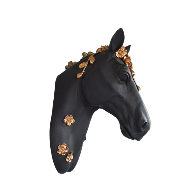 3D Resin Horse Head-Flower Wall Decor