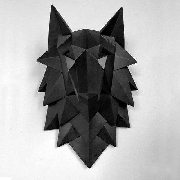 Handmade Resin Craft Wolf Head Artware