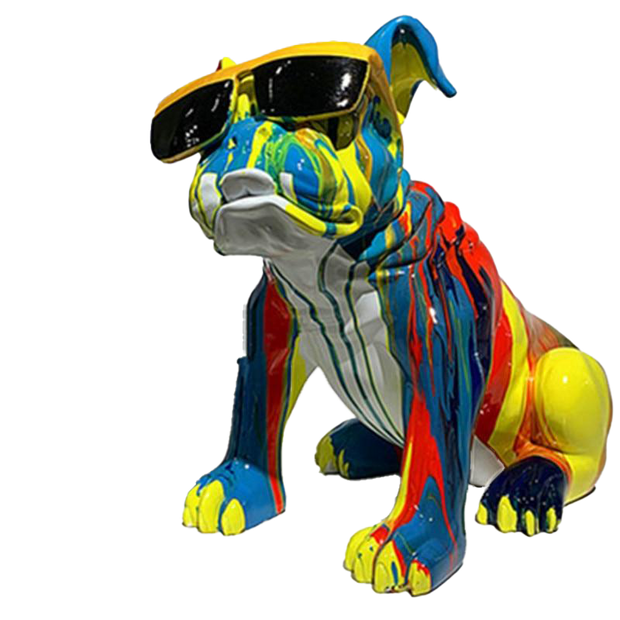 Fun Colored Drawing French Bulldog Sculpture