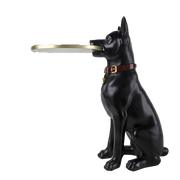 Creative Resin Craft Dog Sculpture Tea Table-Black