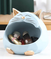 3D Cat Sculpture Figurine Storage Box