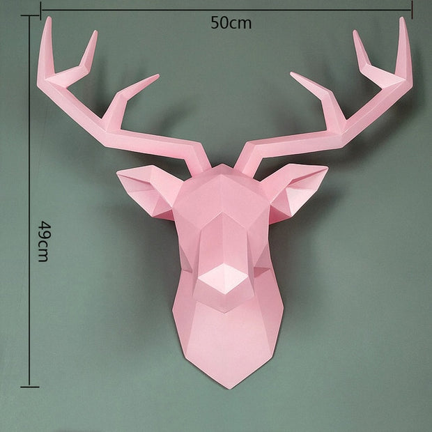 Pink Deer Sculpture for Wall Decoration Patrizio Ricci Patrizioricci.com