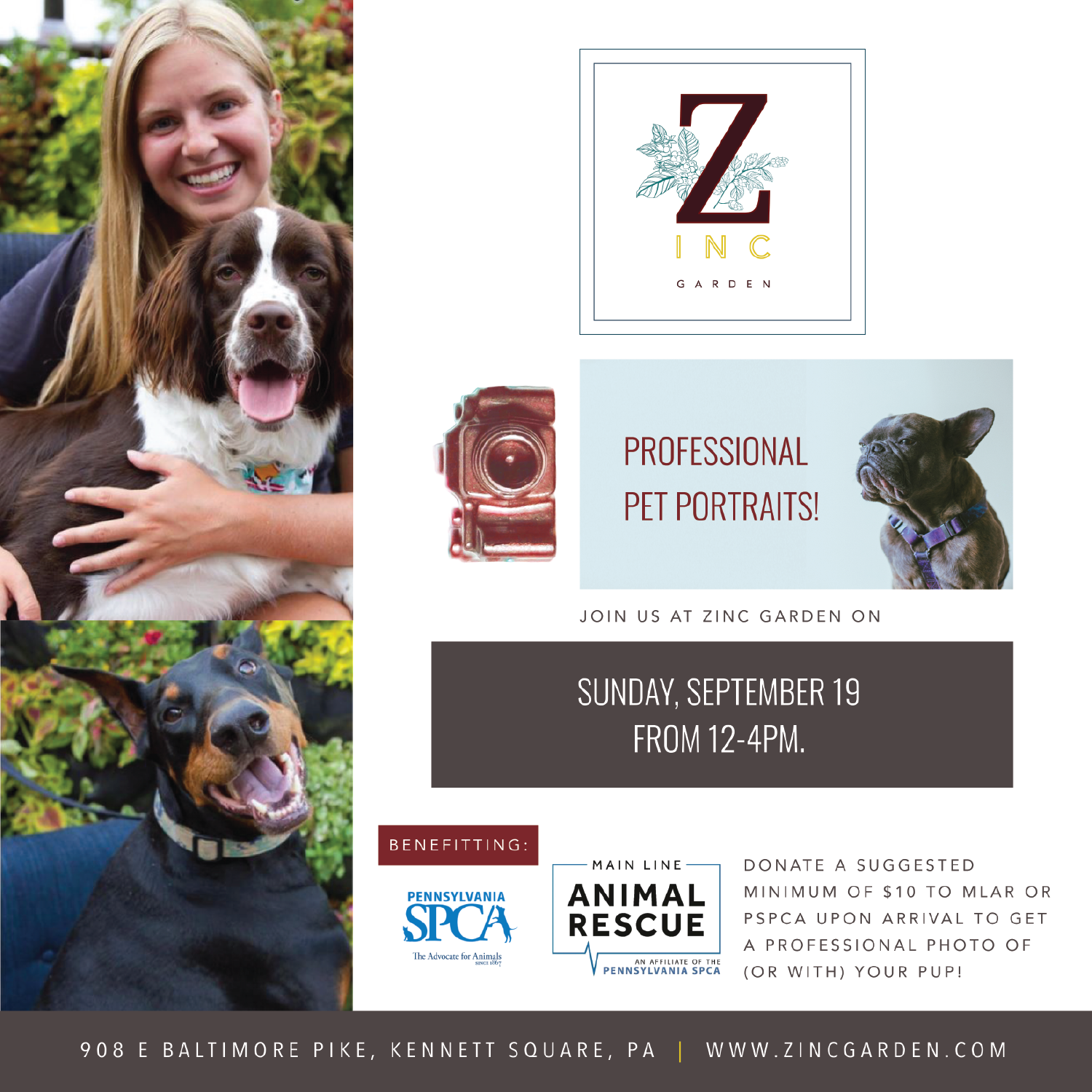 Main Line Animal Rescue and Zinc Garden charity photo event Sunday September 19th 2021