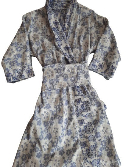 Blue and White Brocade Dress / Jacket