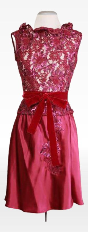 Cerise French Lace Top with Silk Skirt