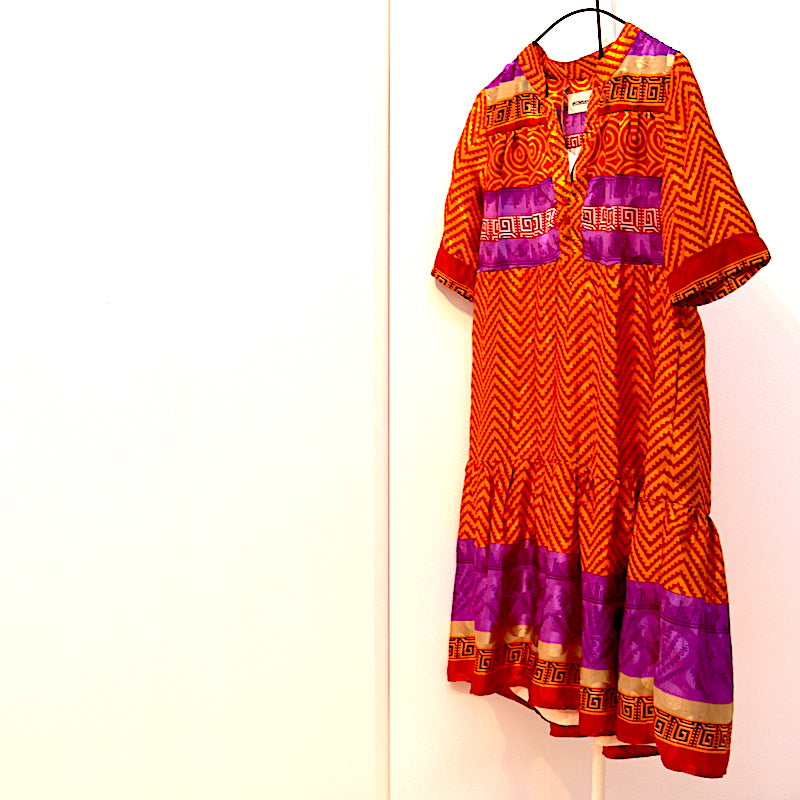BOHO Orange et Violet Robe