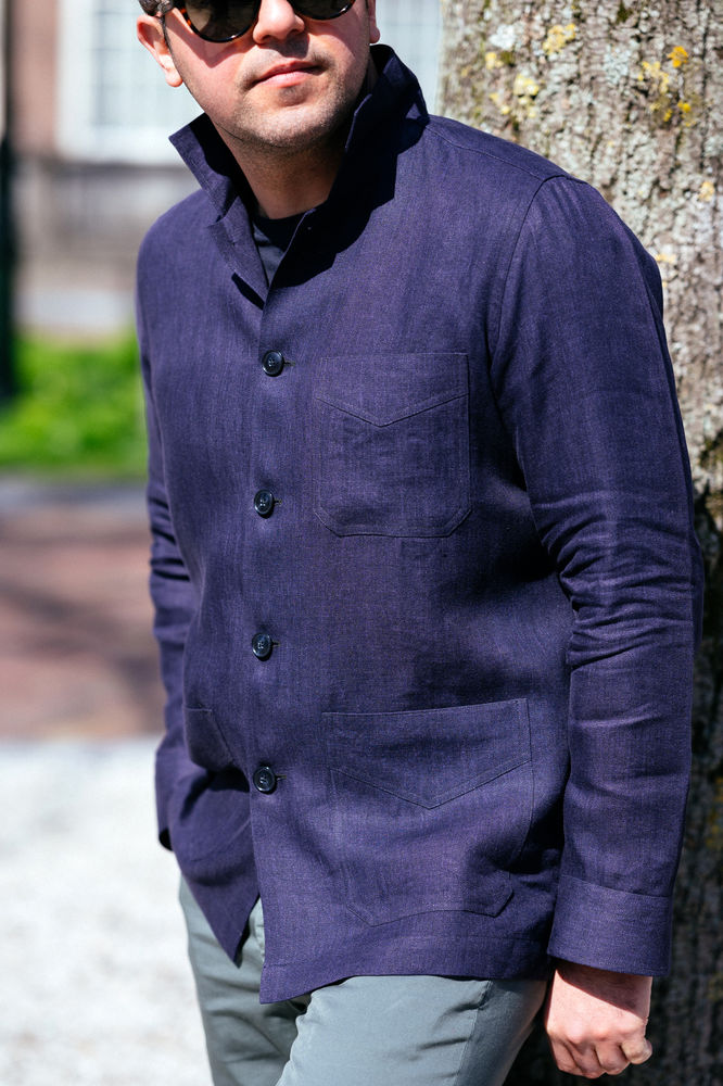 Dark blue linen overshirt and OVERSHIRTS - Ettemadis tailoring