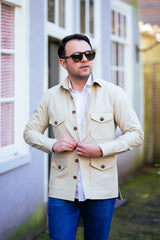 Beige cotton overshirt and OVERSHIRTS - Ettemadis tailoring