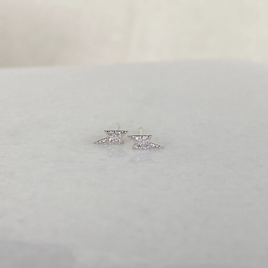 Lightning Stud Earrings in Silver