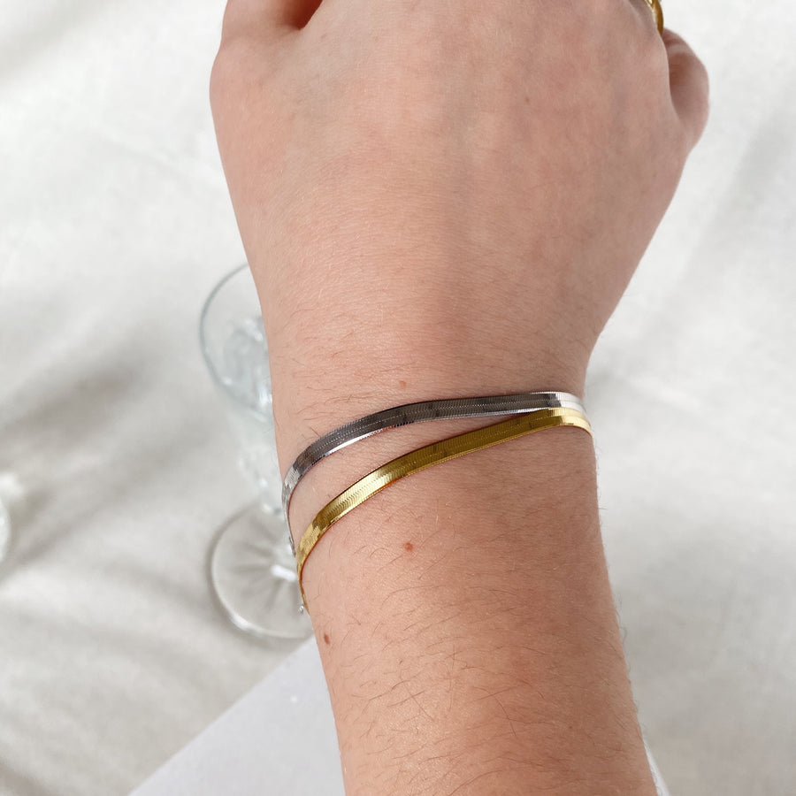 Herringbone Chain Bracelet in Gold