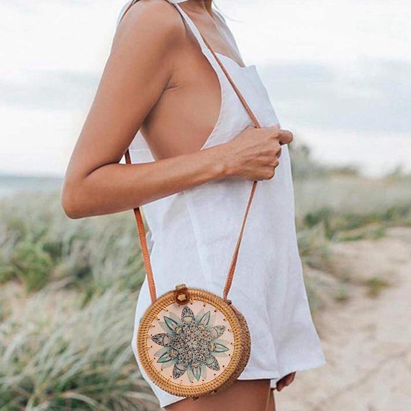 Bolsa de Palha Floral - JUST SHOP