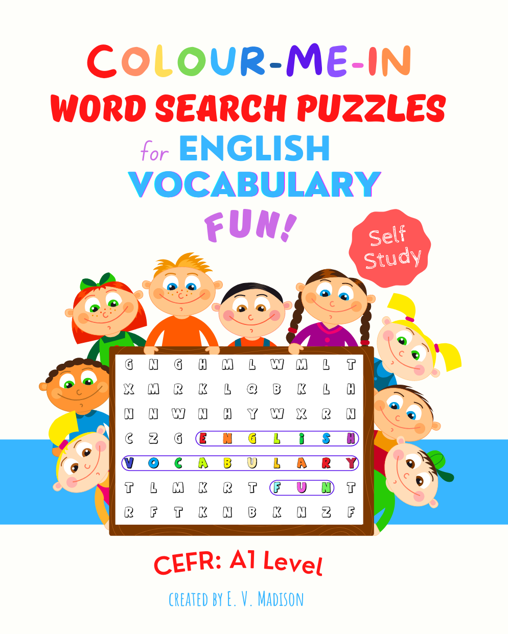 Colour-Me-In Word Search Puzzles for English Vocabulary Fun! A1 Level